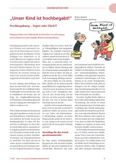 Artikel 'Unser Kind ist hochbegabt!' in Fremdsprachenunterricht 1/2017